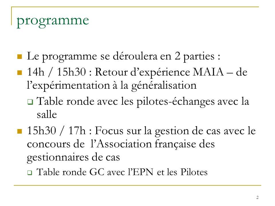 programme Le programme se déroulera en 2 parties :