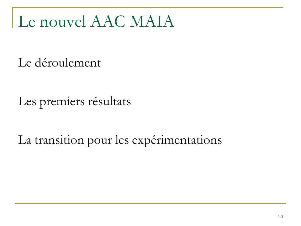 Le nouvel AAC MAIA Le déroulement Les premiers résultats