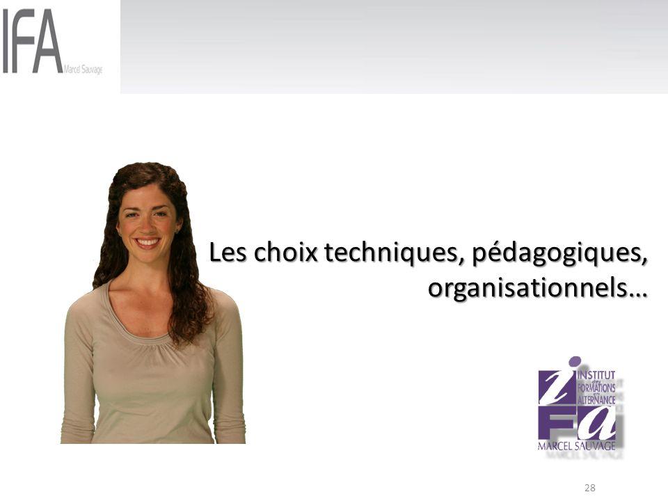 Les choix techniques, pédagogiques, organisationnels…