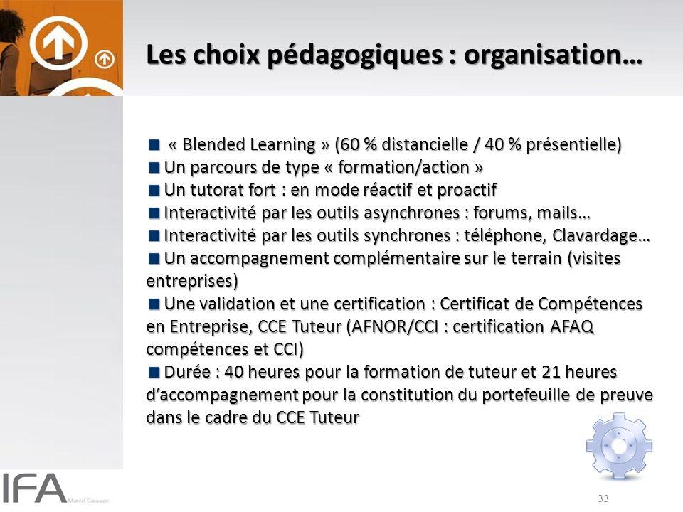 Les choix pédagogiques : organisation…