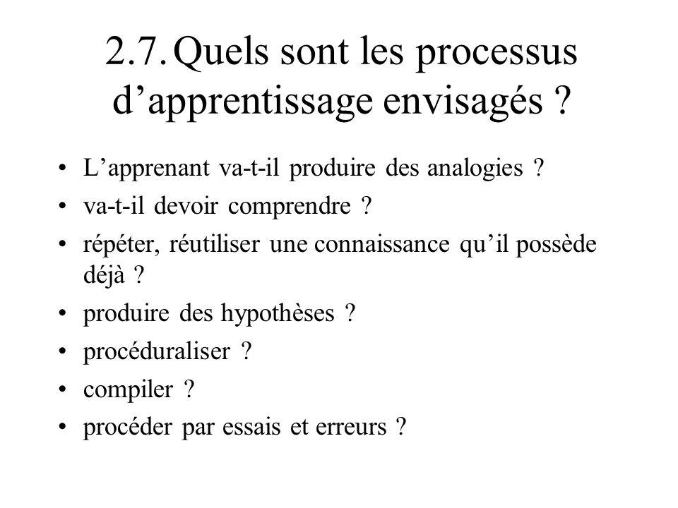 2.7. Quels sont les processus d'apprentissage envisagés