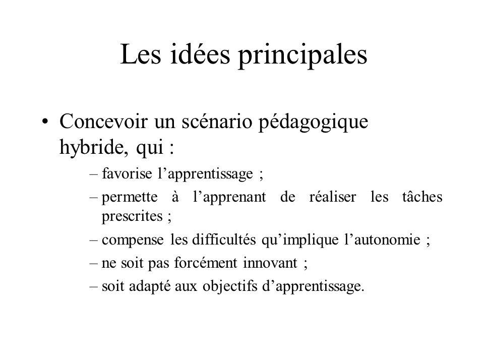 Les idées principales Concevoir un scénario pédagogique hybride, qui :