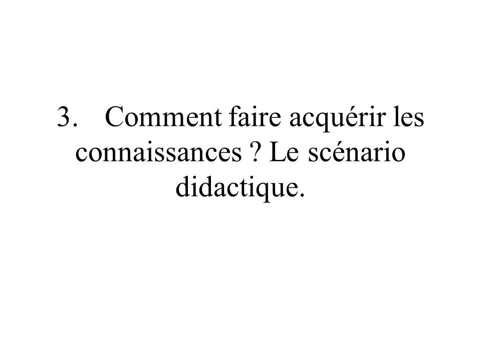 3. Comment faire acquérir les connaissances Le scénario didactique.