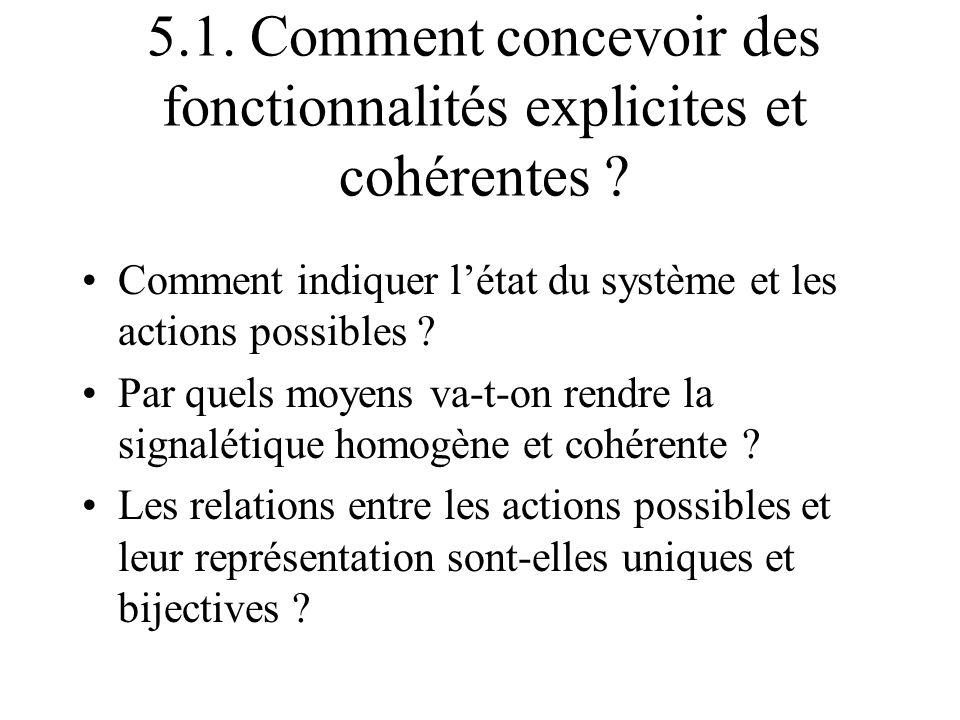 5.1. Comment concevoir des fonctionnalités explicites et cohérentes