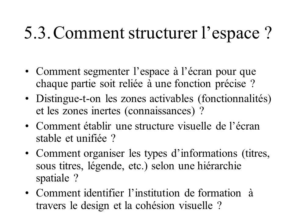 5.3. Comment structurer l'espace