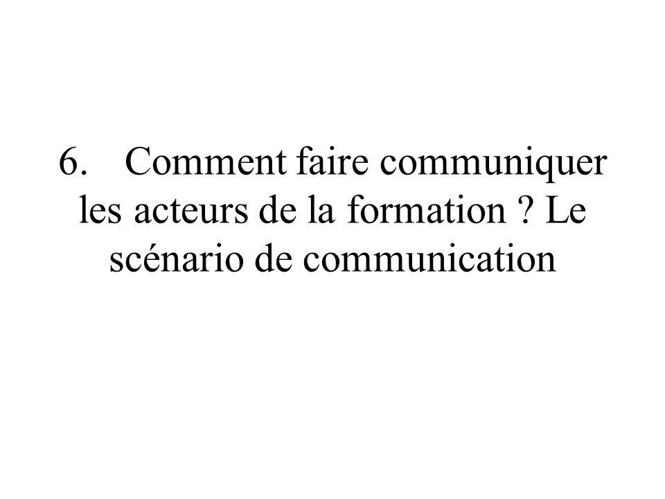 6. Comment faire communiquer les acteurs de la formation