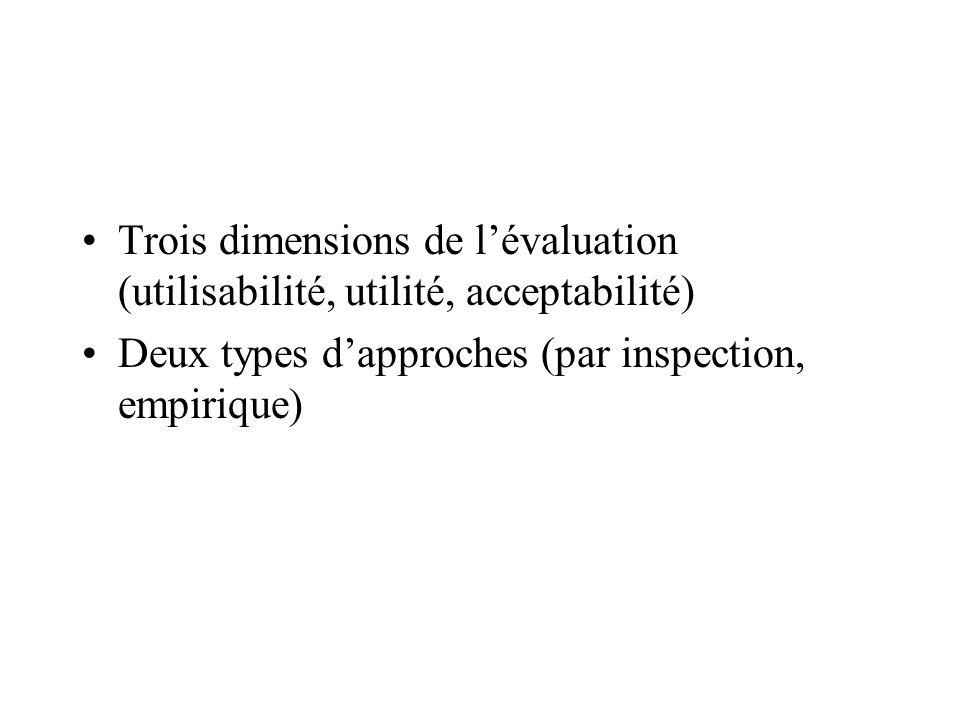 Trois dimensions de l'évaluation (utilisabilité, utilité, acceptabilité)