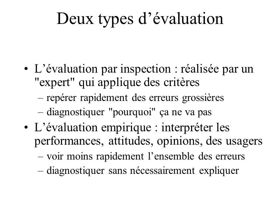 Deux types d'évaluation