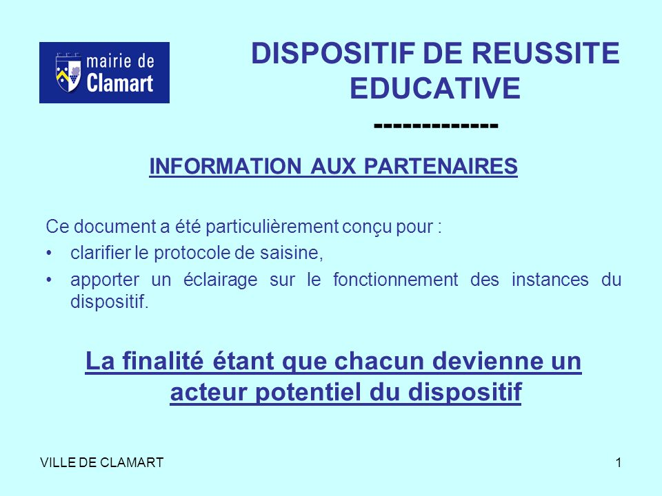DISPOSITIF DE REUSSITE EDUCATIVE -------------