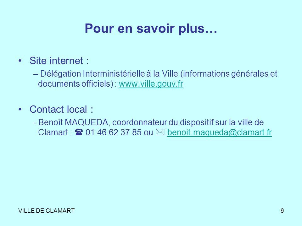 Pour en savoir plus… Site internet : Contact local :