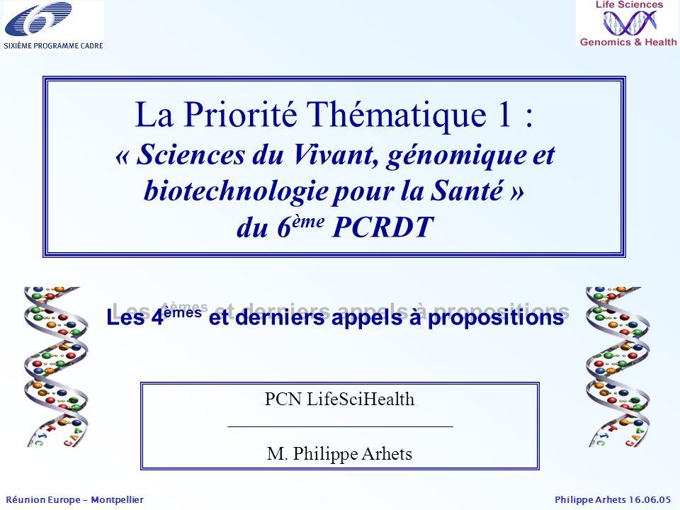 La Priorité Thématique 1 : « Sciences du Vivant, génomique et biotechnologie pour la Santé » du 6ème PCRDT