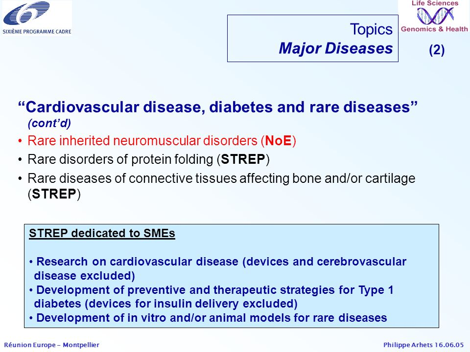 Cardiovascular disease, diabetes and rare diseases (cont'd)