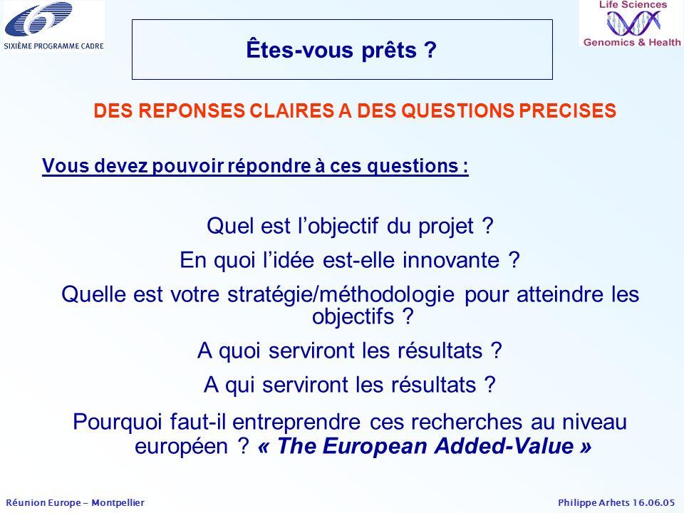 DES REPONSES CLAIRES A DES QUESTIONS PRECISES