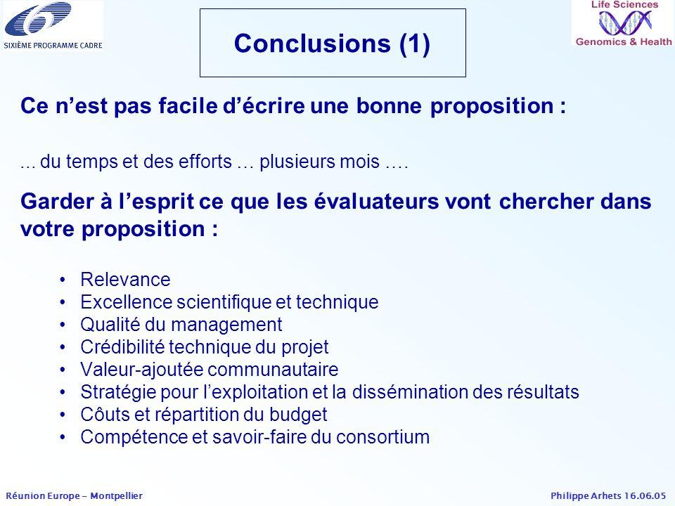 Conclusions (1) Ce n'est pas facile d'écrire une bonne proposition :