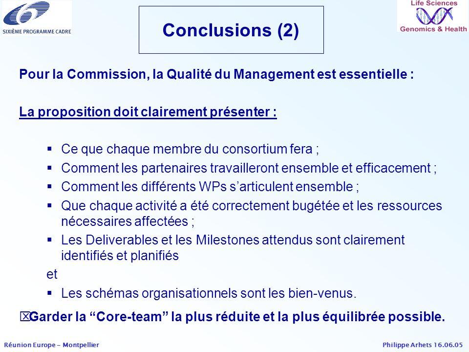 Conclusions (2) Pour la Commission, la Qualité du Management est essentielle : La proposition doit clairement présenter :