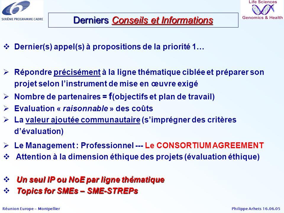 Derniers Conseils et Informations