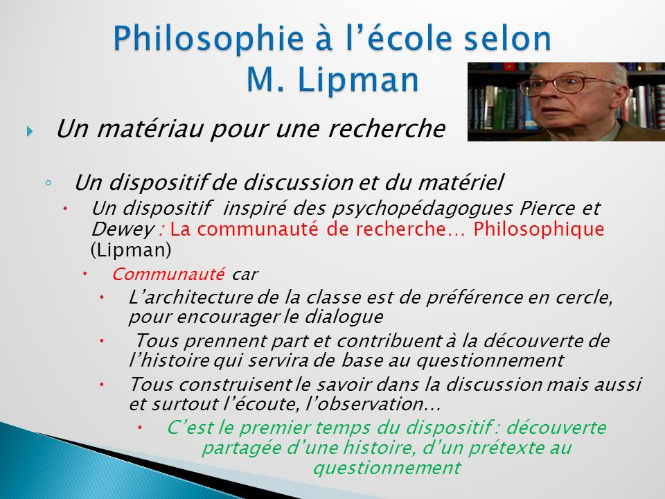 Philosophie à l'école selon M. Lipman