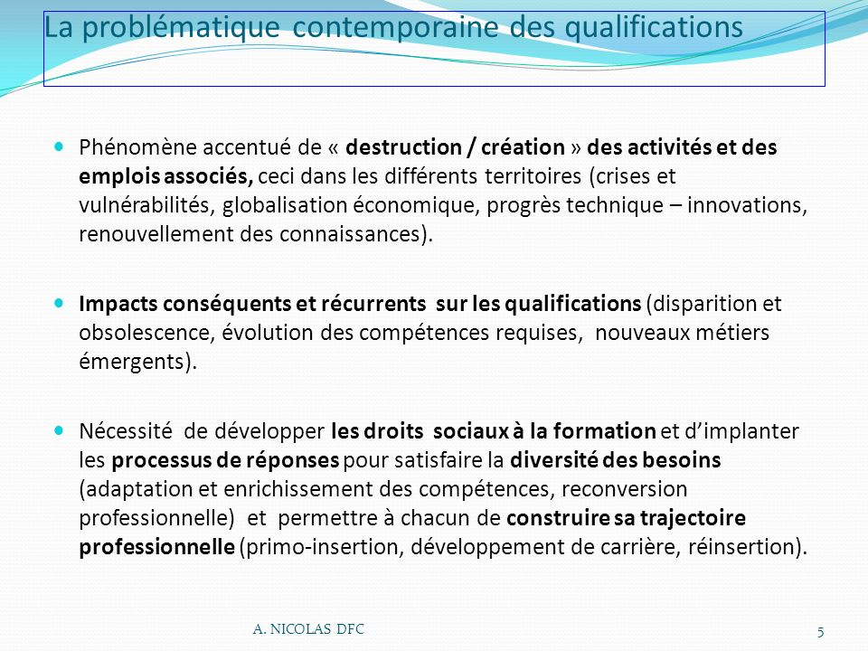 La problématique contemporaine des qualifications