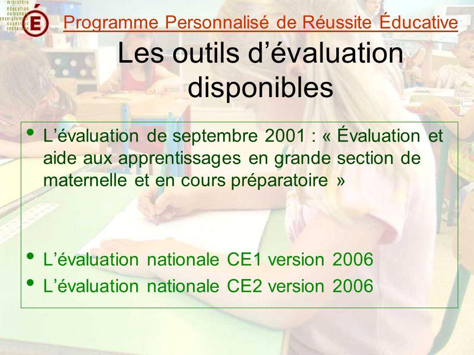 Les outils d'évaluation disponibles