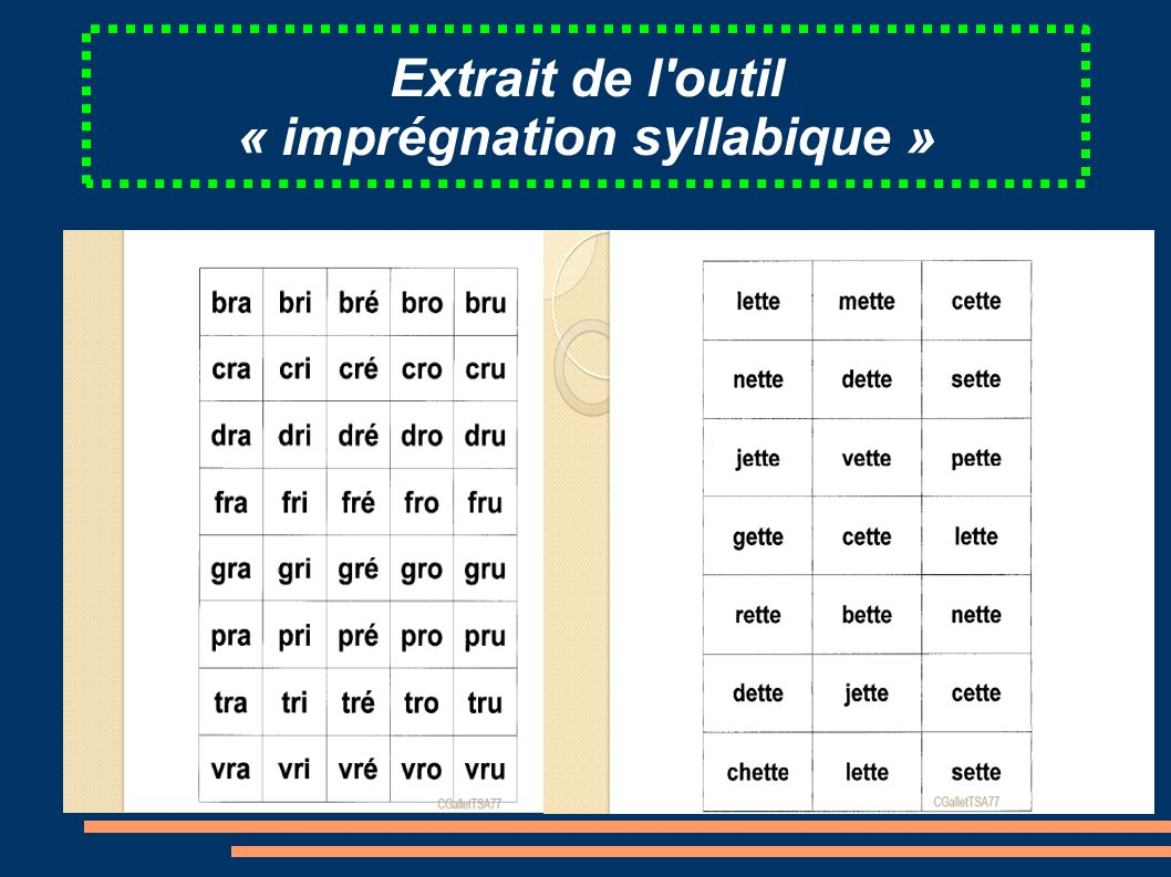 Extrait de l outil « imprégnation syllabique »