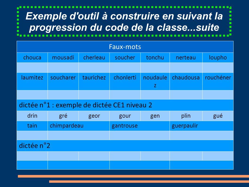 Exemple d outil à construire en suivant la progression du code de la classe...suite