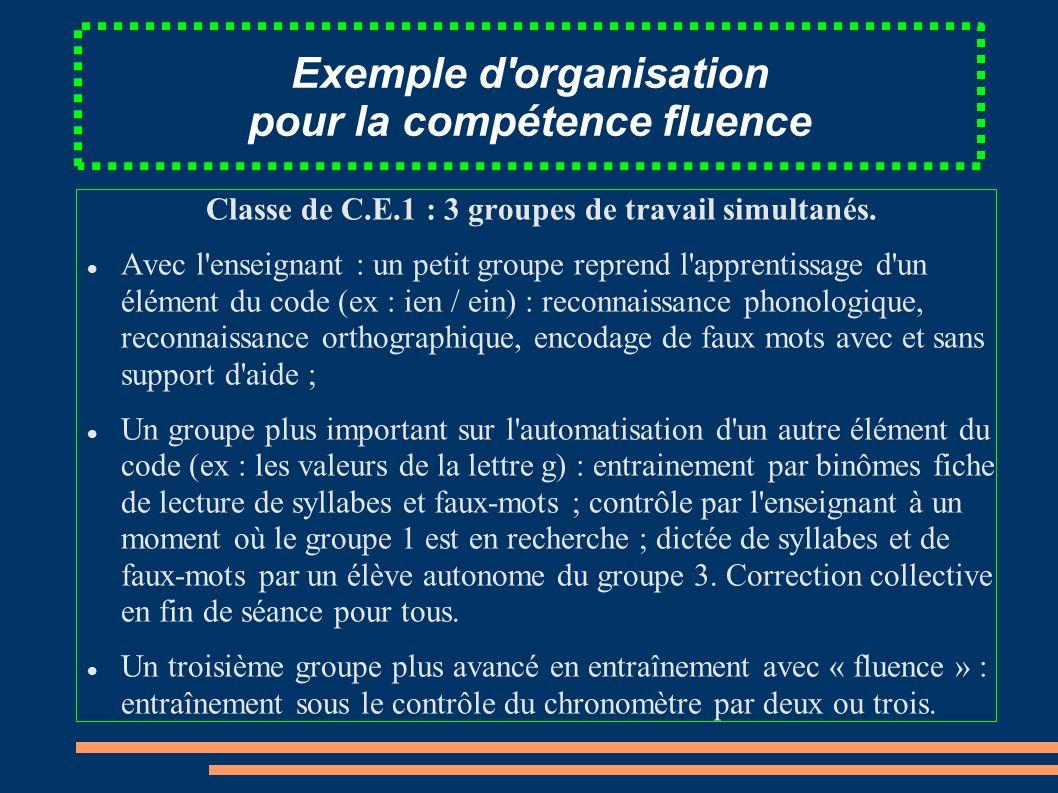 Exemple d organisation pour la compétence fluence