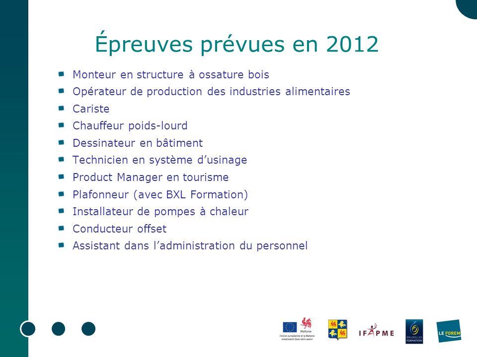 Épreuves prévues en 2012 Monteur en structure à ossature bois