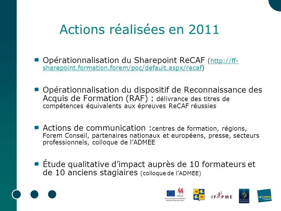 Actions réalisées en 2011 Opérationnalisation du Sharepoint ReCAF (http://ff-sharepoint.formation.forem/poc/default.aspx/recaf)