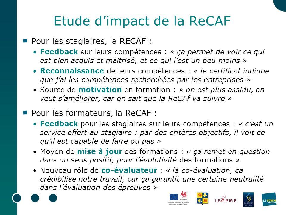 Etude d'impact de la ReCAF