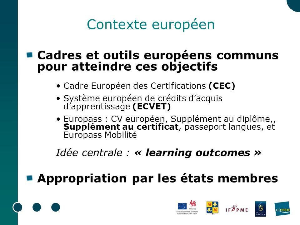 Contexte européen Cadres et outils européens communs pour atteindre ces objectifs. Cadre Européen des Certifications (CEC)