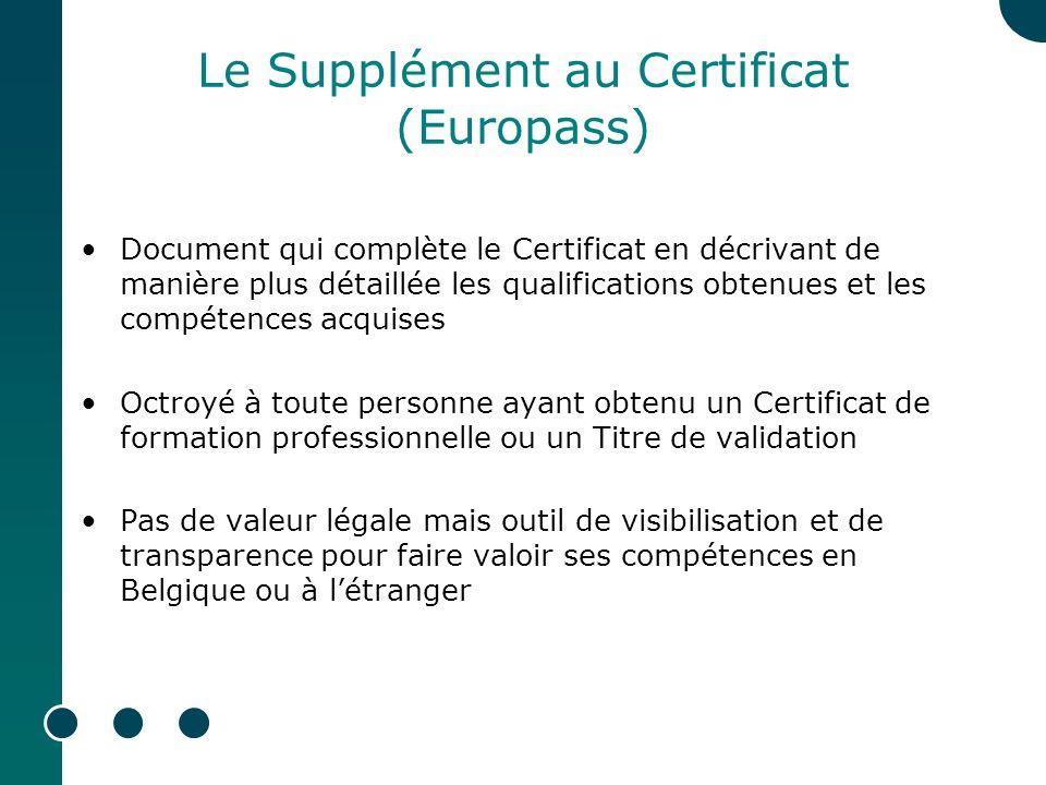 Le Supplément au Certificat (Europass)