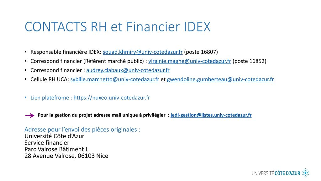 CONTACTS RH et Financier IDEX