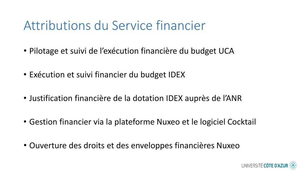 Attributions du Service financier