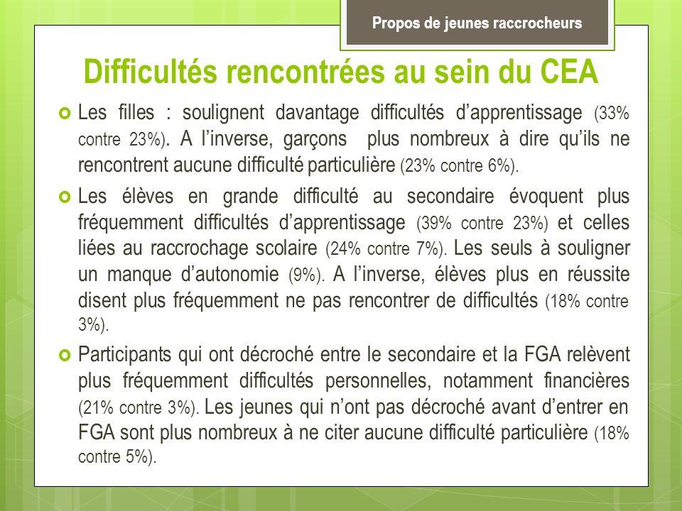 Difficultés rencontrées au sein du CEA