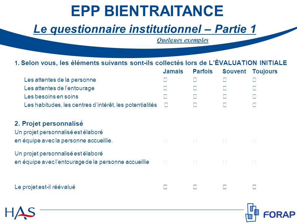 Le questionnaire institutionnel – Partie 1