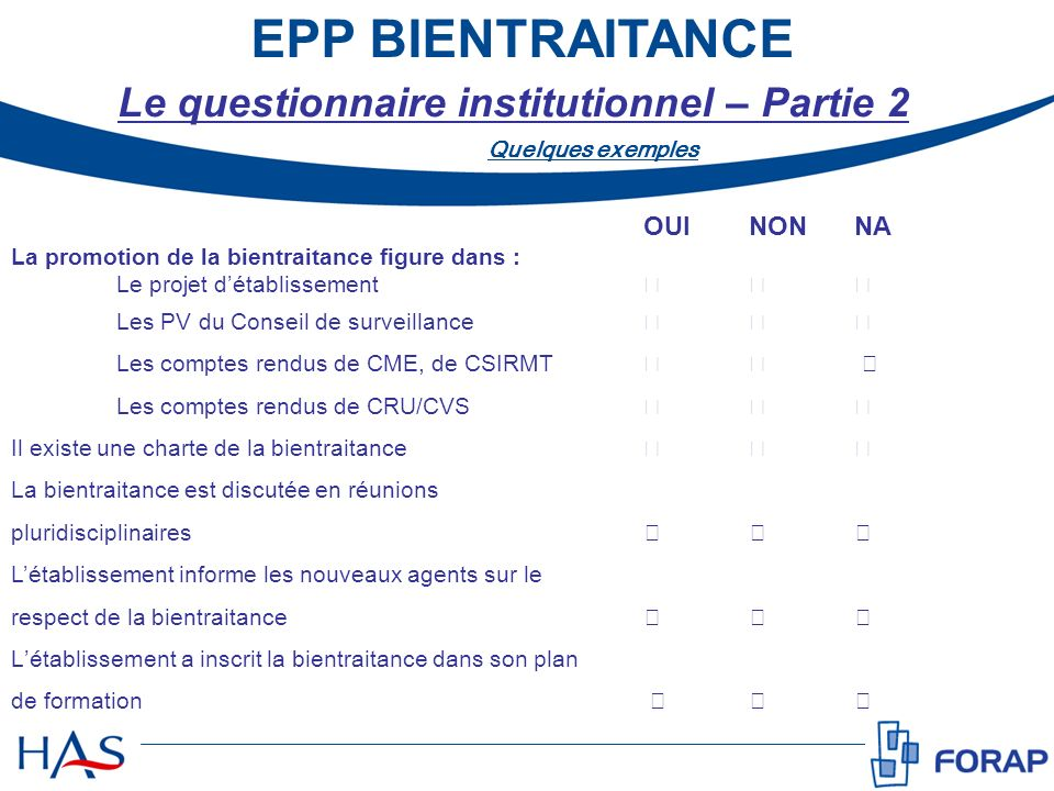 Le questionnaire institutionnel – Partie 2
