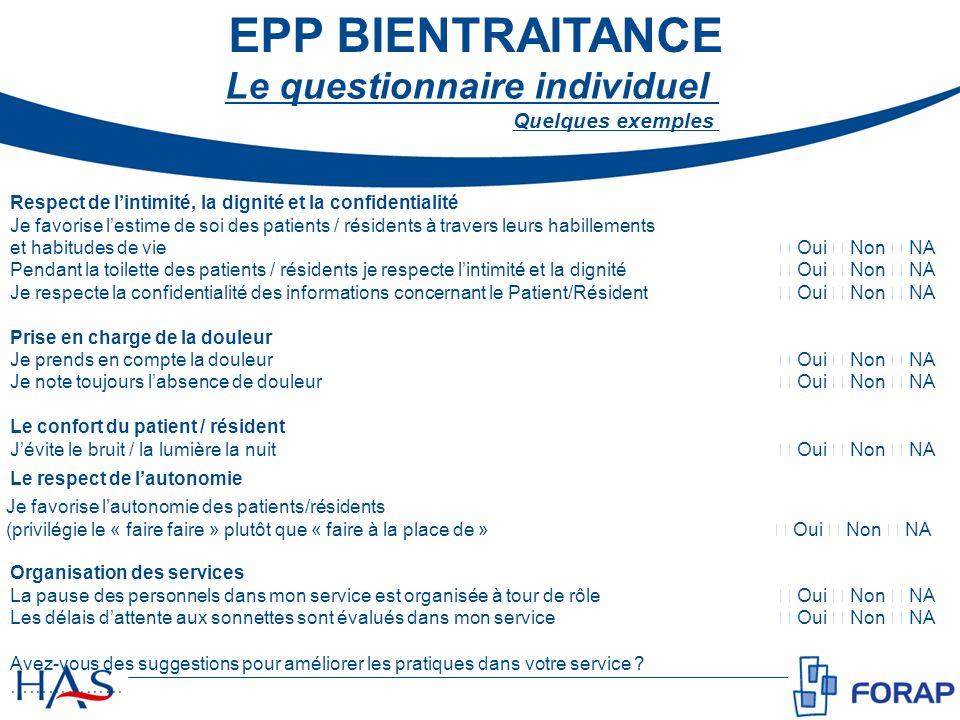 EPP BIENTRAITANCE Le questionnaire individuel Quelques exemples