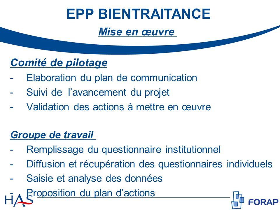 EPP BIENTRAITANCE Mise en œuvre Comité de pilotage