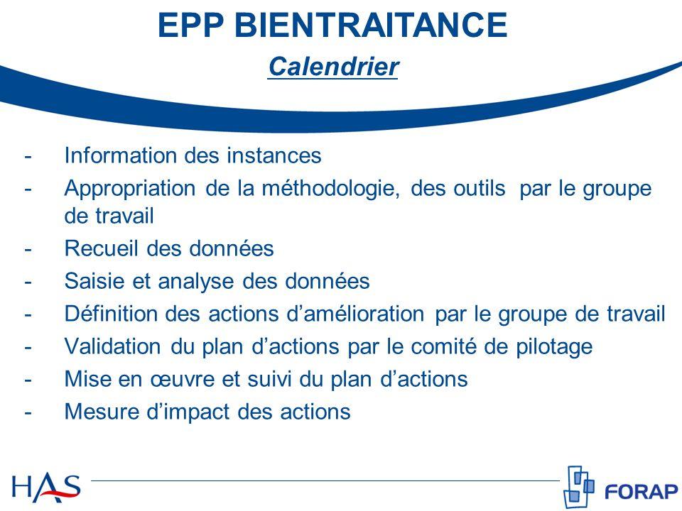 EPP BIENTRAITANCE Calendrier Information des instances