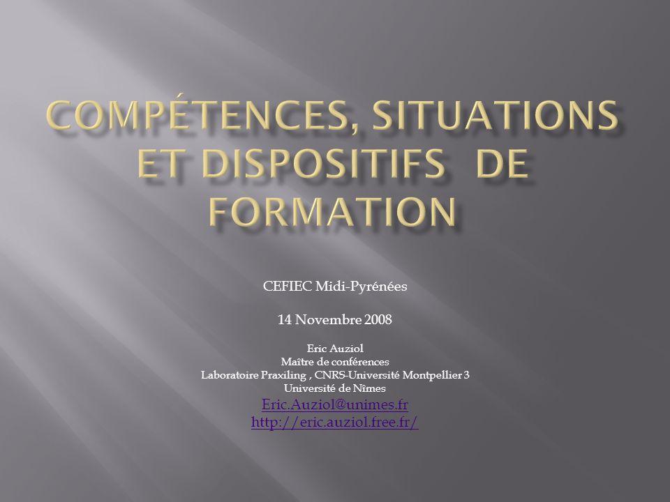Compétences, situations et dispositifs de formation