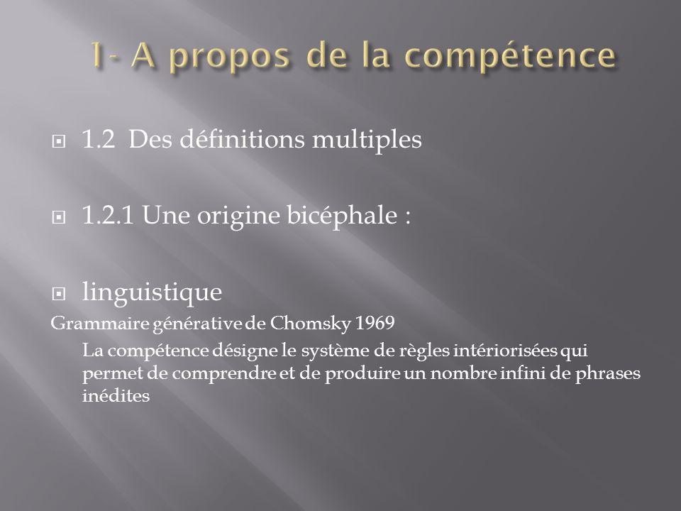 1- A propos de la compétence