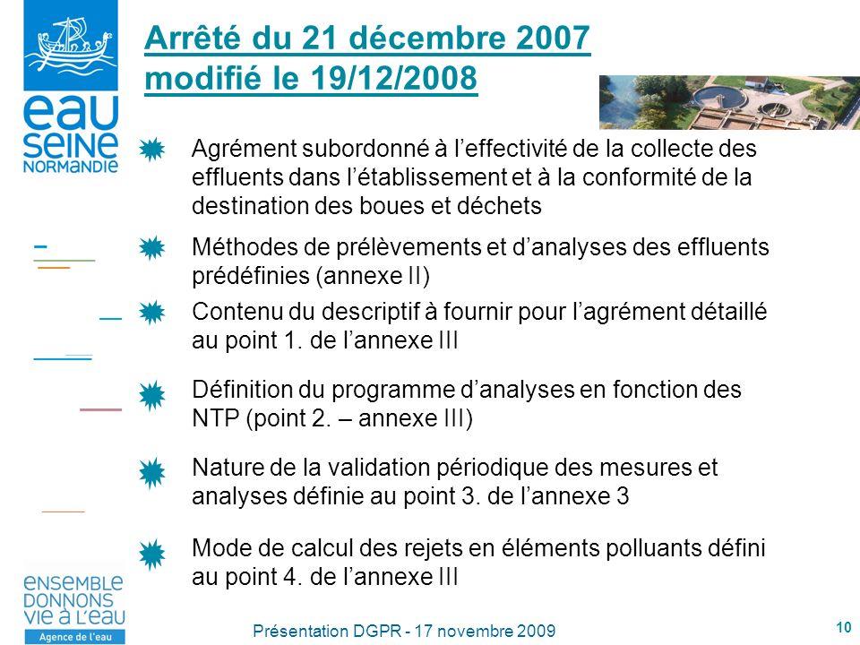 Arrêté du 21 décembre 2007 modifié le 19/12/2008