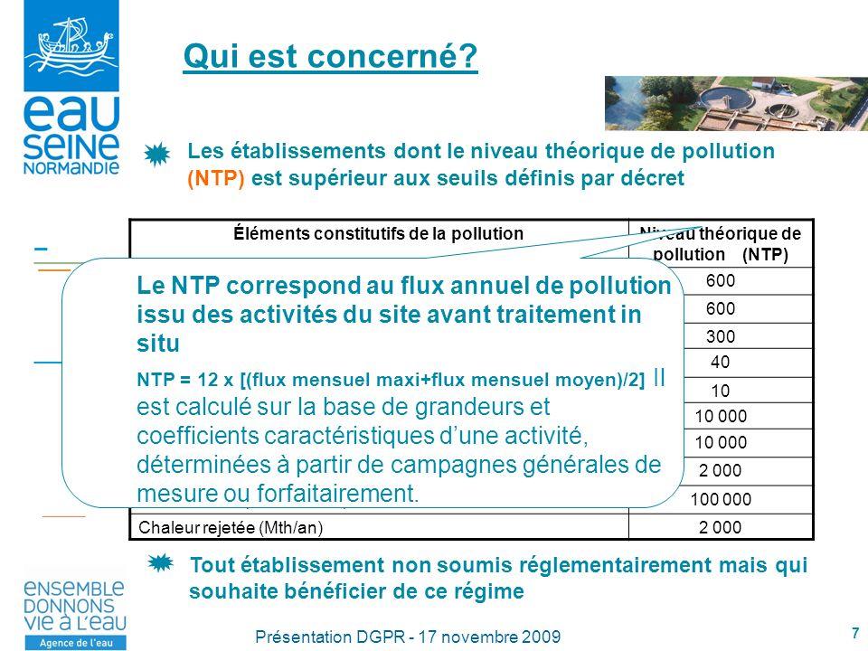 Qui est concerné Les établissements dont le niveau théorique de pollution (NTP) est supérieur aux seuils définis par décret.
