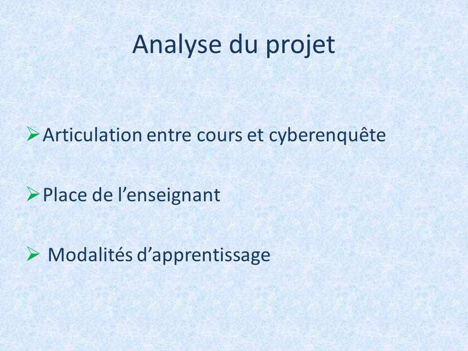 Analyse du projet Articulation entre cours et cyberenquête
