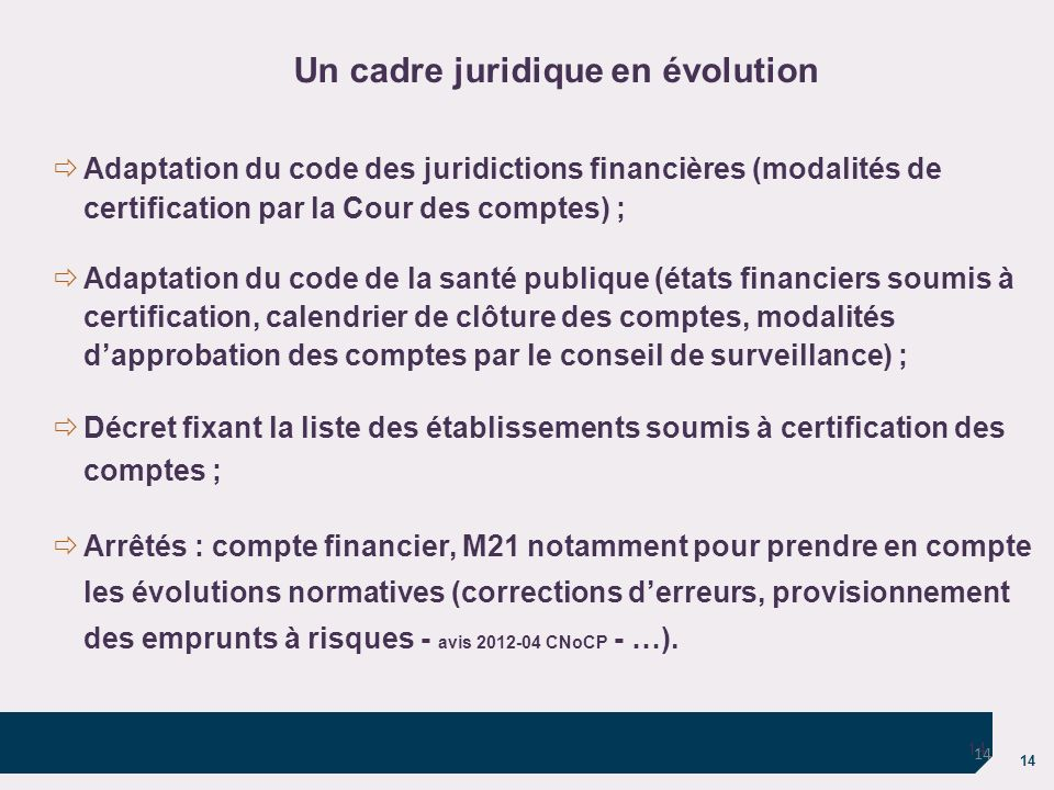 Un cadre juridique en évolution