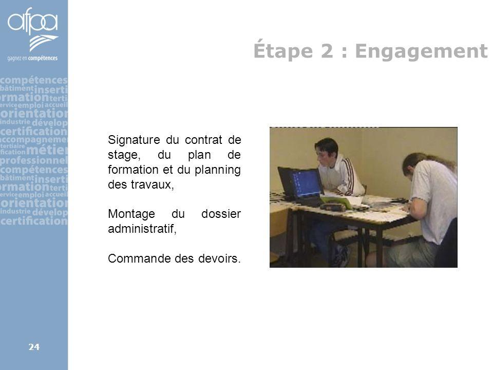 Étape 2 : EngagementSignature du contrat de stage, du plan de formation et du planning des travaux,