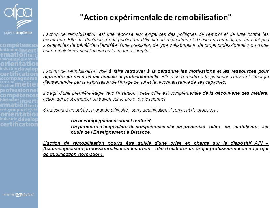 Action expérimentale de remobilisation