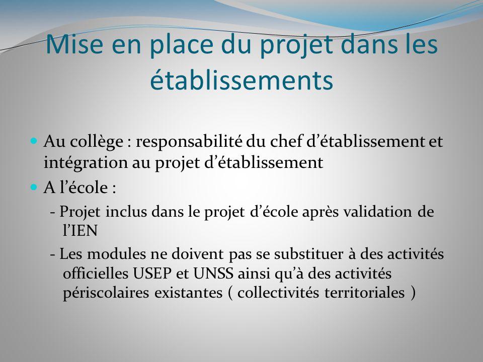 Mise en place du projet dans les établissements