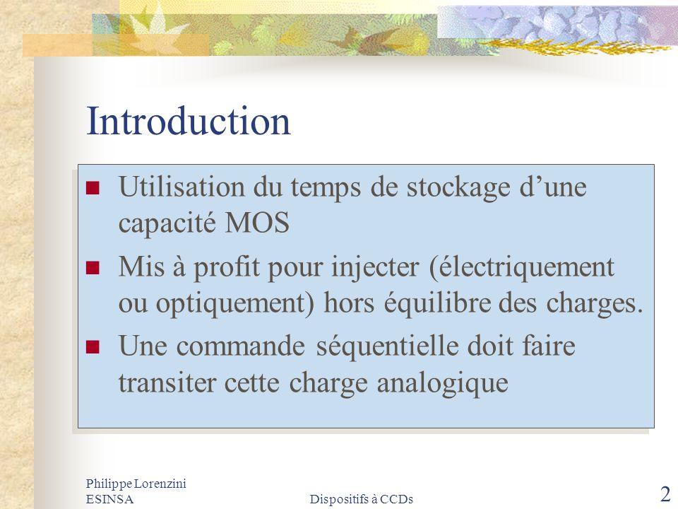 Introduction Utilisation du temps de stockage d'une capacité MOS