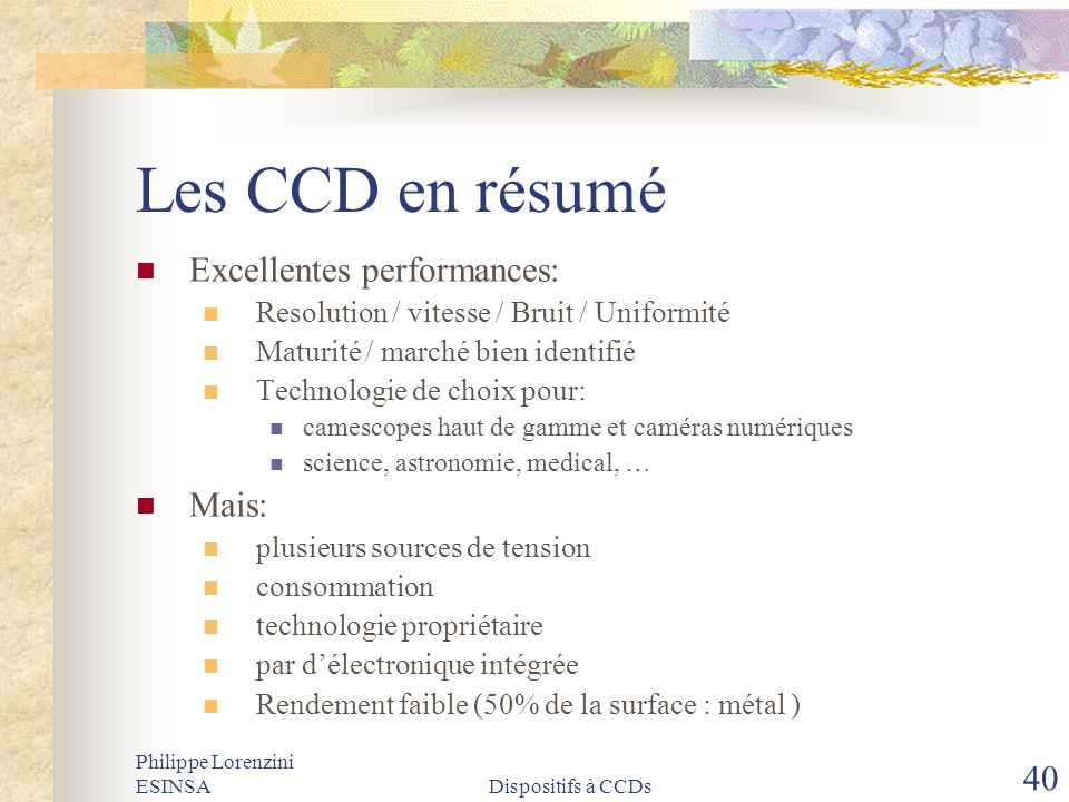 Les CCD en résumé Excellentes performances: Mais: